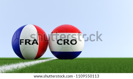 France vs. Croatia Soccer Match - Soccer balls in France and Croatia national colors on a soccer field. Copy space on the right side - 3D Rendering