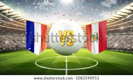 France vs Peru. Soccer concept. White soccer ball with the flag in the stadium, 2018. 3d render