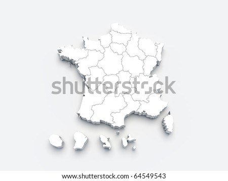 France white map 3D on gray isolated