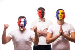 France - win, Albania - serious, Romania - pray Football fans of national teams with crossed hand look at camera on white background. European 2016 football fans concept.