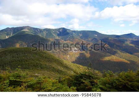 Franconia Notch State Park, viewed from peak of Cannon Mountain, White Mountian, New Hampshire, USA