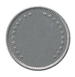 francs coin closeup isolated on white background