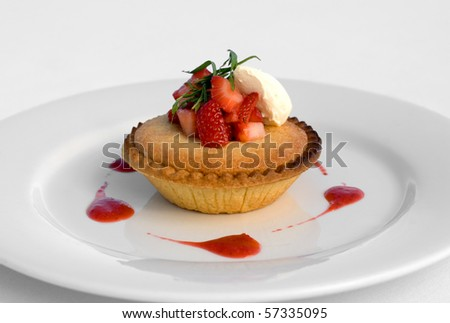 Frangipane Tartlet with Sweetened Mascapone & Strawberry Coulis