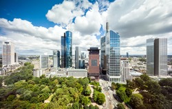 Frankfurt aerial cityscape panorama of the skyscrapers in downtown
