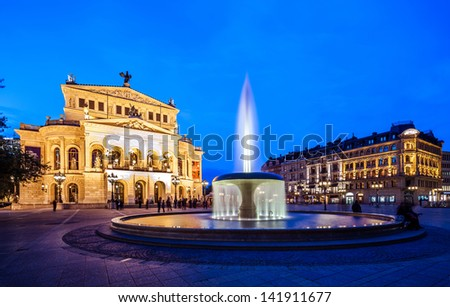 Frankfurt Alte Oper old opera with fountain at night