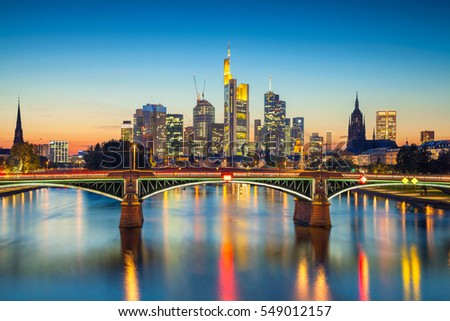 Frankfurt am Main. Cityscape image of Frankfurt am Main during sunset. #549012157