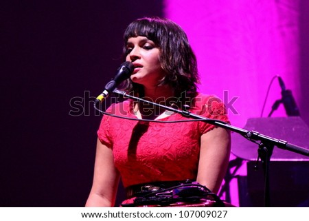 "FRANKFURT AM MAIN, GERMANY - MAY 26: Norah Jones live in concert at the Alte Oper on May 26, 2012. The tour took place near the release of her beautiful album ""Little Broken Hearts""."