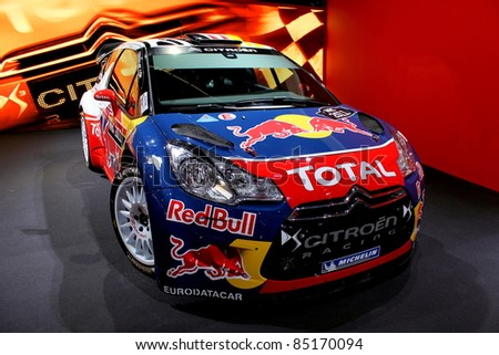 FRANKFURT AM MAIN, GERMANY - SEPTEMBER 19: The Citroen DS3 WRC world rally car on display at the IAA International Motor Show on September 19, 2011. It debuted at the Sweden Rally in 2011.
