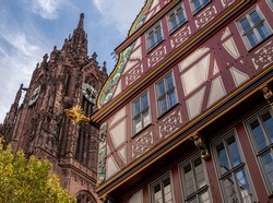 Frankfurt am Main Historical Old Town with Catholic Cathedral and Classical Medieval Building