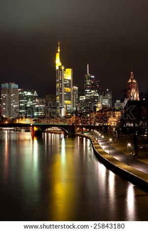 Frankfurt by night. Commercial district.