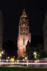 Frankfurt Cathedral - Church in Frankfurt am Main at night. Germany