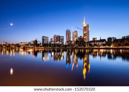 Frankfurt city skyscrapers in downtown at night