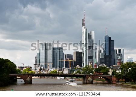 Frankfurt city skyscrapers in the downtown