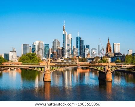 Frankfurt city with sunrise and skyline