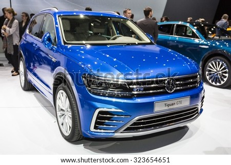 Frankfurt, Deutschland - September 15, 2015: 2016 Volkswagen Tiguan presented on the 66th International Motor Show in the Messe Frankfurt