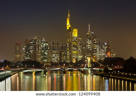 Frankfurt Financial District at Night Reflecting in the Main River.