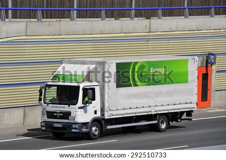 FRANKFURT,GERMANY-APRIL 24: MAN truck of EUROPCAR on April 24,2015 in Frankfurt,Germany