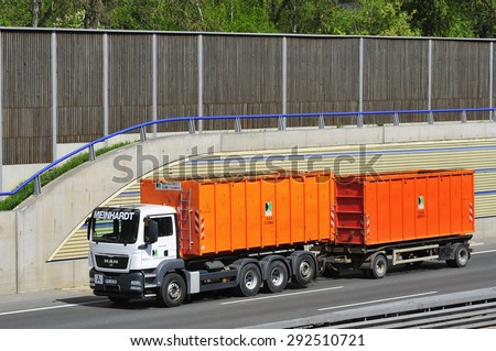 FRANKFURT,GERMANY-APRIL 24: MAN truck on April 24,2015 in Frankfurt,Germany