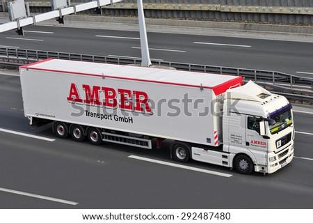 FRANKFURT,GERMANY-APRIL 16:MAN truck on the highway on April 16,2015 in Frankfurt,Germany