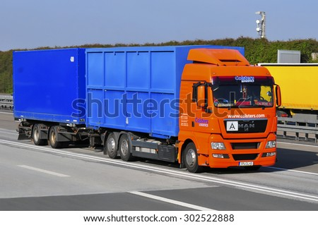 FRANKFURT,GERMANY-APRIL 10:MAN truck on the highway on April 10,2015 in Frankfurt,Germany.