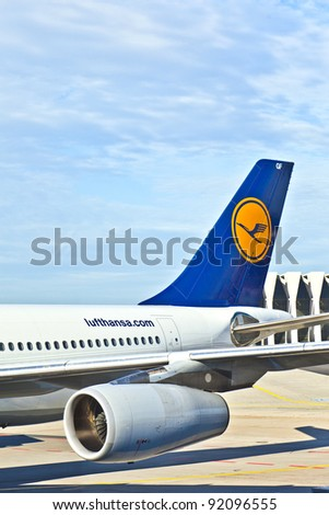 FRANKFURT, GERMANY - AUG 25: Lufthansa Flight ready to head to runway on August, 25, 2011 in Frankfurt, Germany. Lufthansa is the flag carrier of Germany and the largest airline in Europe.