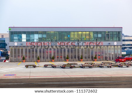 FRANKFURT, GERMANY - AUGUST 22: emergency medical service center at the airport on August 22, 2012 in Frankfurt, Germany. The service runs a 24 7 operation and is prepared for any kind of disaster.