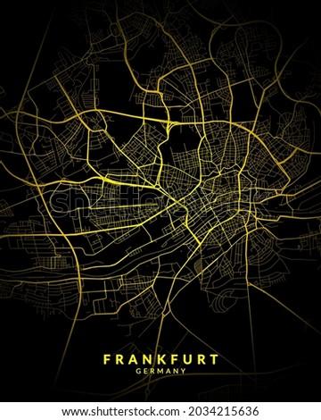 Frankfurt, Germany City Map Style Gold - Frankfurt City Map Poster Wall Art Home Decor - Frankfurt City Gold Map