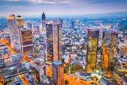 Frankfurt, Germany Cityscape at dusk.