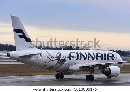 FRANKFURT,GERMANY-FEBRUARY 03,2018: FINNAIR Airbus A320 lands at Frankfurt airport.