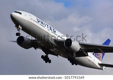 FRANKFURT,GERMANY-FEBRUARY 03,2018: United Airlines Boeing 777 lands at Frankfurt airport.