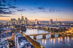 Frankfurt, Germany financial district skyline.