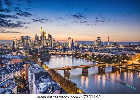 Frankfurt, Germany financial district skyline. Stockfoto ©