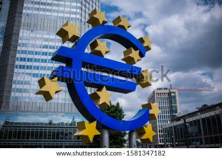 FRANKFURT, GERMANY - JUNE 21: A giant Euro sign in front of the European Central Bank building in Frankfurt, Germany, on June 21, 2014. Photo by Victor Fraile