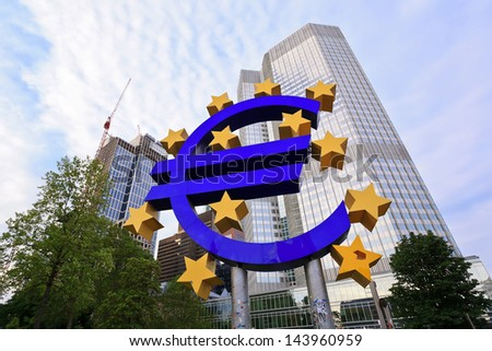 FRANKFURT, GERMANY - JUNE 14: the Euro sign outside the European Central Bank (ECB) on JUNE 14, 2013 in Frankfurt Germany. The ECB is building new premises in Frankfurt, due for completion in 2013.