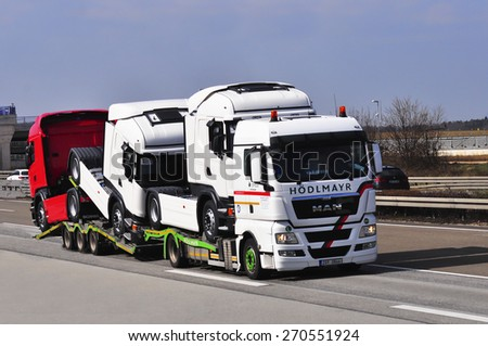FRANKFURT,GERMANY-MARCH 28:MAN truck on March 28,2015 in Frankfurt,Germany. MAN SE, formerly MAN AG, is a German mechanical engineering company and parent company of the MAN Group.