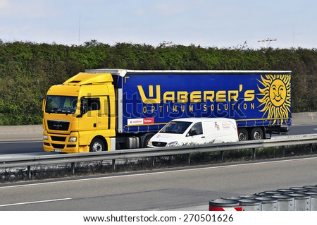 FRANKFURT,GERMANY-MARCH 26:MAN truck on the highway on March 26,2015 in Frankfurt,Germany. MAN SE, formerly MAN AG, is a German mechanical engineering company and parent company of the MAN Group.