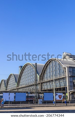 FRANKFURT, GERMANY - MARCH 2, 2013: outside the Frankfurt central station in Frankfurt, Germany. With about 350.000 passengers per day its the most frequented railway station in Germany. #206774344