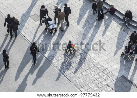 FRANKFURT, GERMANY-MARCH 03: people walk along the Zeil in Midday on March 03,2011 in Frankfurt, Germany. Since the 19th century it is of the most famous and busiest shopping streets in Germany.