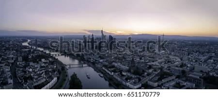 FRANKFURT, GERMANY - May 27, 2017 - Panorama aerial of sunset in Frankfurt, Germany #651170779