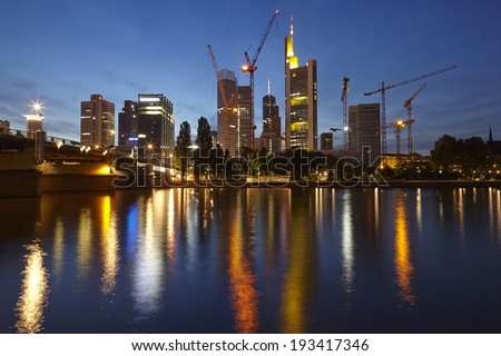 FRANKFURT, GERMANY - MAY, 05. Towers of the biggest bank companies at Frankfurt / Main (Germany) taken on May 2014, 05 in the evening (blue hour).