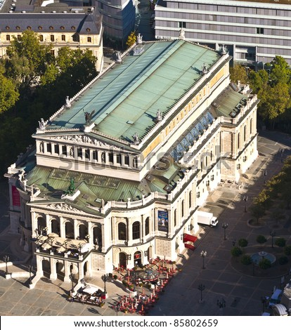 FRANKFURT, GERMANY - OCT 1: aerial of famous Opera house in Frankfurt, the Alte Oper on October 1,2010 in Frankfurt, germany. The alte oper was rebuilt in 1981 after being destroyed in WW 2. - stock photo