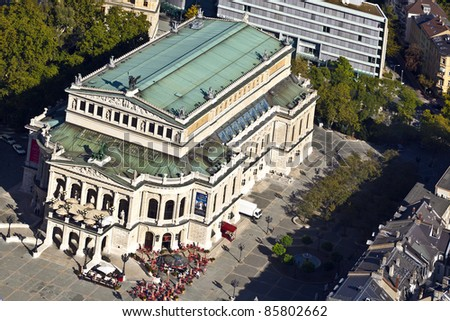 FRANKFURT, GERMANY - OCT 1: aerial of famous Opera house in Frankfurt, the Alte Oper on October 1,2010 in Frankfurt, germany. The alte oper was rebuilt in 1981 after being destroyed in WW 2.