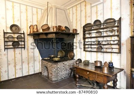 FRANKFURT, GERMANY OCTOBER 22: historic kitchen with oven in the Goethe museum on October 22,2011 in Frankfurt, Germany. In this house Johann Wolfgang Goethe was born on the 28th of August 1749.