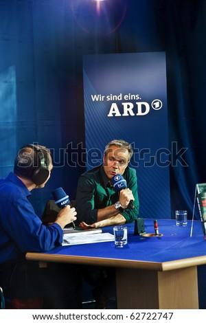 FRANKFURT, GERMANY - OCTOBER 10: public day for Frankfurt Book fair, Hannes Jaenicke, actor and activist against project Stuttgart 21 in interview  on October 10, 2010 in Frankfurt, Germany.