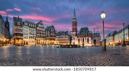 Frankfurt, Germany. Panorama of Romerberg - historic market square with german timber houses at dusk