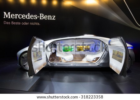 FRANKFURT, GERMANY - SEP 16, 2015: Mercedes Benz autonomous concept car at the IAA 2015.