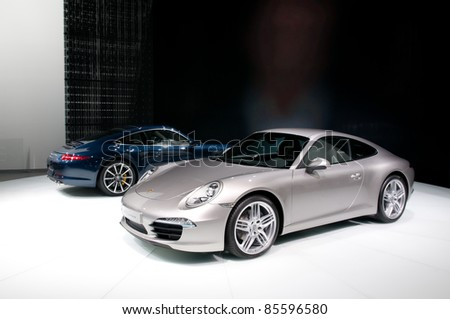 FRANKFURT, GERMANY - SEP 25: Porsche 911 (991) Carrera Coupe shown on 64th IAA (Internationale Automobil Ausstellung) on September 25, 2011 in Frankfurt, Germany.