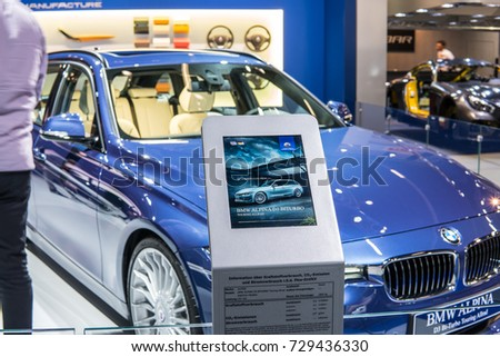 Frankfurt, Germany, September 13, 2017: BMW ALPINA D3 BITURBO Touring Allroad at 67th International Motor Show (IAA) #729436330