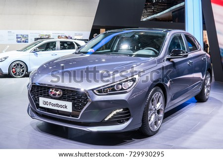 Frankfurt, Germany, September 13, 2017: Hyundai new i30 Fastback at 67th International Motor Show (IAA)