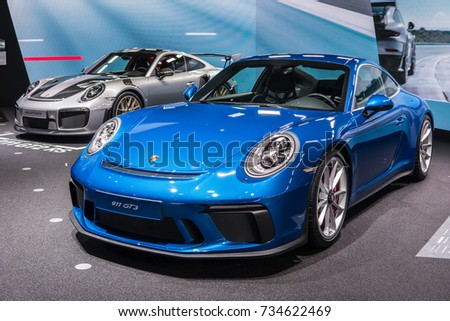 Frankfurt, Germany, September 13, 2017: metallic blue Porsche 911 GT3 at 67th International Motor Show (IAA)